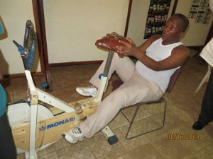 Dr Ibrahim Sallieu Kamara doing leg exercise at the UMC General Hospital at Kissy