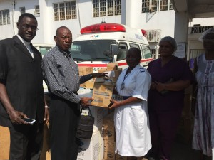 UMC Donates to Princess Christian Maternity Hospital In Pic (Rev. Ashcroft, Rev. Karimu, Matron Ruby Williams, staff)